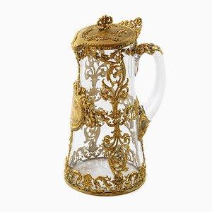 Vergoldete französische Kanne aus Bronze & Glas, 19. Jh.