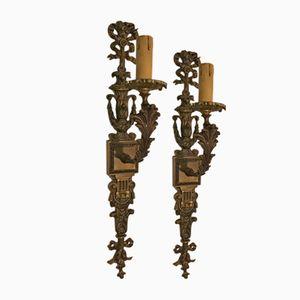 Applique da parete vintage in bronzo, set di 2