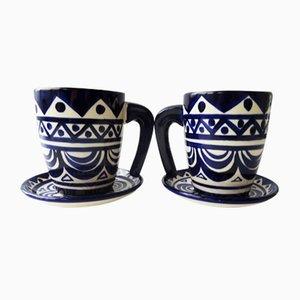 Tazas de cerámica de fayenza con platillos de St. Jean de Bretagne, años 40