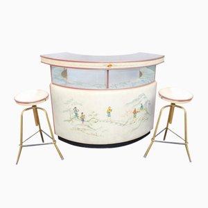 Mueble bar con 2 taburetes, años 60