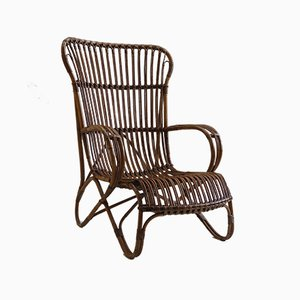 Cane and Rattan Lounge Chair, 1920s