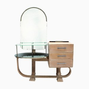 Art Deco Limed Oak Dressing Table, 1930s