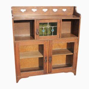 Bücherregal aus Eichenholz mit Buntglas, 1920er
