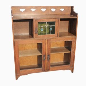 Oak Bookcase with Stained Glass Detail, 1920s