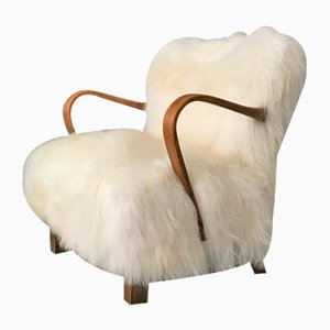 Fauteuil Modèle WH237 ne Bois Courbé avec Peau de Mouton Blanche par Jindřich Halabala, 1940s