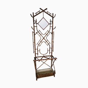 Antique Victorian Tiger Bamboo Coat Rack Hall Stand