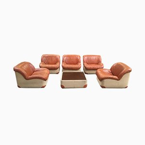 Italian Canvas and Leather Living Room Set, 1970s