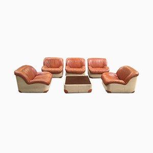 Italienische Sitzgarnitur aus Leinen & Leder, 1970er