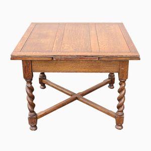 Kleiner ausziehbarer Tisch aus Eiche mit gedrehten Beinen, 1940er