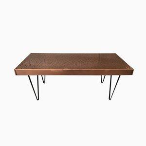 Mesa vintage rectangular de cobre martillado