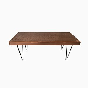 Rectangular Vintage Hammered Copper Table
