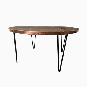 Round Vintage Hammered Copper Table