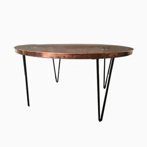 Runder Vintage Tisch aus gehämmertem Kupfer