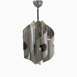 Lámpara de araña italiana de cromo y latón, años 70