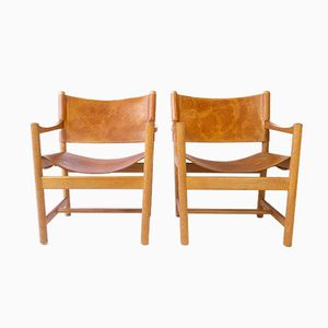 Cognac Leather and Oak Armchairs by Adrian & Ditte Heath for FDB, 1979, Set of 2