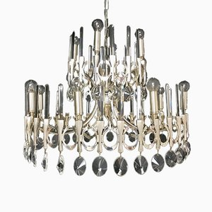 Mid-Century Metal Chandelier by Gaetano Sciolari for Sciolari, 1970s