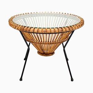 Table Basse Vintage en Rotin par Franco Albini