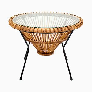 Vintage Rattan Coffee Table by Franco Albini