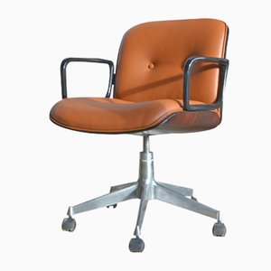 Vintage Cognac Leather Desk Chair by Ico Parisi for MIM