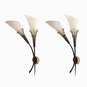 Apliques florales de metal y perspex de Maison Arlus, años 40. Juego de 2
