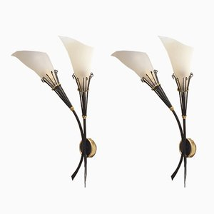 Floral Perspex & Metal Sconces from Maison Arlus, 1950s, Set of 2