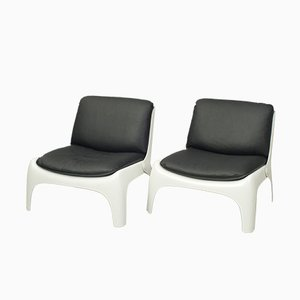 Black Leather & Fiberglass Chairs, 1970s, Set of 2