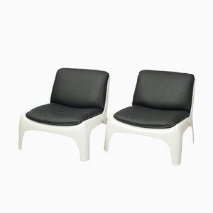 Chaises en Cuir Noir & Fibre de Verre, 1970s, Set de 2