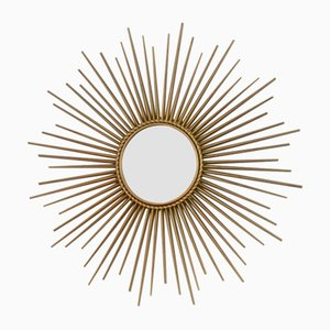 Specchio Sunburst in metallo dorato di Chaty Vallauris, anni '60