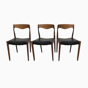 Chaises en Teck, Scandinavie, 1960s, Set de 3