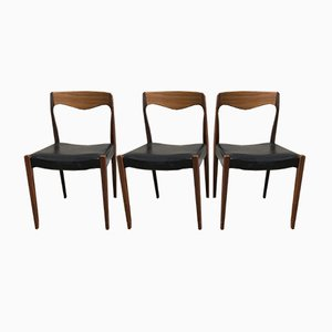 Scandinavian Teak Chairs, 1960s, Set of 3