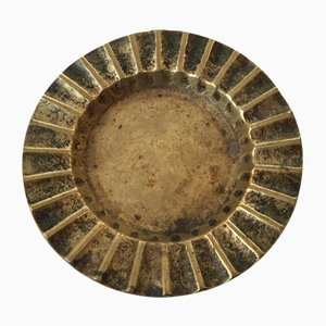 Danish Fluted Bronze Ashtray or Coin Tray from Ægte Bronce, 1930s