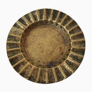 Kannelierter dänischer Aschenbecher oder Münztrog aus Bronze von Ægte Bronce, 1930er