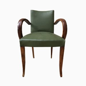 French Bridge Leather Armchair, 1950s