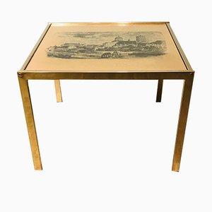 Mesa de centro de latón con plato de cobre, años 60