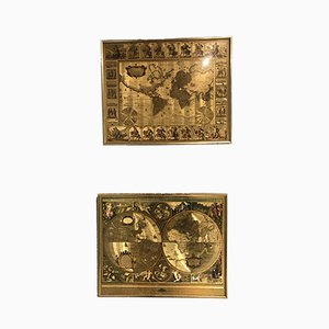 Vintage Brass Maps, 1950s, Set of 2