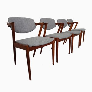 Model 42 Teak Chairs by Kai Kristiansen for Schou Andersen, 1960s, Set of 4
