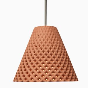 Lampada a sospensione Helia rossa in calcestruzzo di Dror Kaspi per Ardoma Design