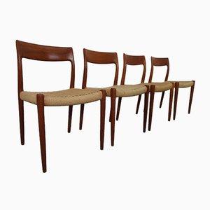 Modell 77 Esszimmerstühle von Niels Otto Møller für J.L. Møllers, 4er Set