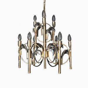 Gilt Brass and Crystal Glass Chandelier by Gaetano Sciolari, 1970s