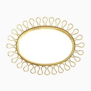 Mid-Century Scandinavian Brass Mirror, 1960s