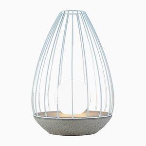 Flame Tischlampe aus der Ova Serie mit blauem Metallkäfig von Dror Kaspi für Ardoma Design