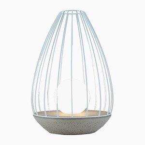 Ova Series Flame Table Lamp with Blue Metal Cage by Dror Kaspi for Ardoma Design