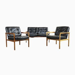 Danish Teak and Leather Living Room Set, 1960s