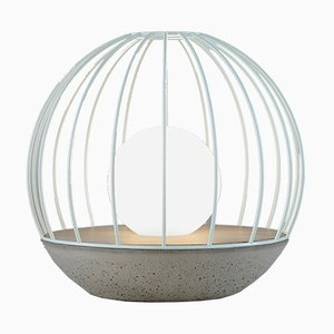 Ova Series Sphere Table Lamp with Green Metal Cage by Dror Kaspi for Ardoma Design