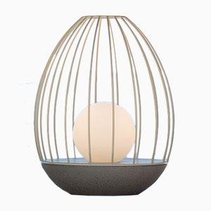 Egg Tischlampe aus der Ova Serie mit gelbem Metallkäfig von Dror Kaspi für Ardoma Design
