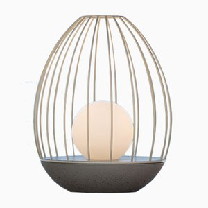 Ova Series Egg Table Lamp with Yellow Metal Cage by Dror Kaspi for Ardoma Design