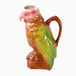 Vintage French Majolica Cockatoo Water Pitcher by St. Clément