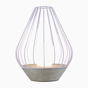 Ova Series Diamond Table Lamp with Purple Metal Cage by Dror Kaspi for Ardoma Design