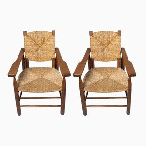 Paillés Armchairs by Pierre Jeanneret for Sentou, 1950s, Set of 2