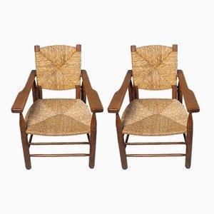 Paillés Armlehnstühle von Pierre Jeanneret für Sentou, 1950er, 2er Set